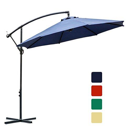 FARLAND 10 ft Offset Cantilever Patio Umbrella Outdoor Market Hanging Umbrellas & Crank with Cross Base, 8 Ribs (10 ft, Dark Blue)