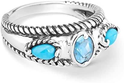 Carolyn Pollack Sterling Silver Multi Gemstone Choice of 8 Colors Stack Band Ring Size 5 to 10
