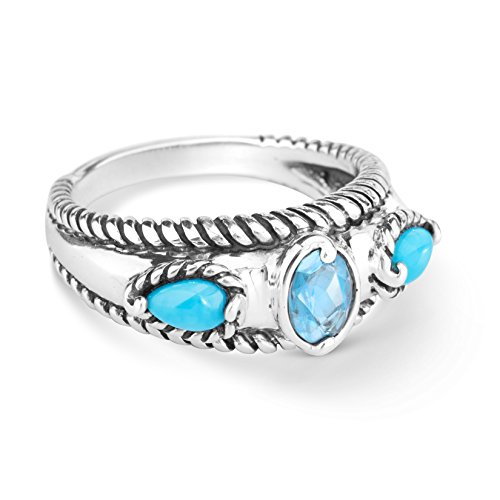 Carolyn Pollack Sterling Silver Sleeping Beauty Turquoise and Blue Topaz Gemstone Stack Band Ring Size 7