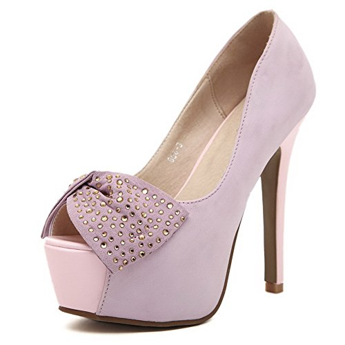 VogueZone009 Womens Open Toe Peep Toe High Heels PU Solid Sandals with Platform and Bowknot Pink DvD4bu3J