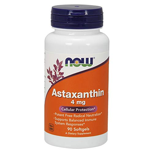 Now Supplements, Astaxanthin 4 mg derived from Non-GMO Haematococcus Pluvialis Microalgae and has Naturally Occurring Lutein, Canthaxanthin and Beta-Carotene, 90 Softgels