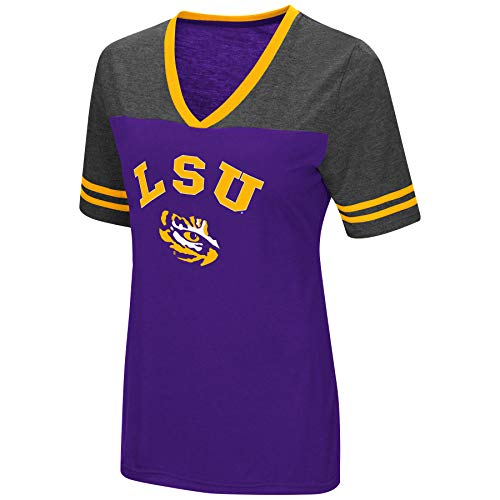 Colosseum Women's NCAA Varsity Jersey V-Neck T-Shirt-LSU Tigers-Purple-XL