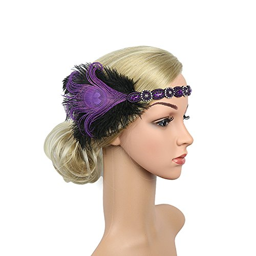 1920s Headband Blue Feather Bridal Purple Gatsby 20s Gangster Flapper Headpiece