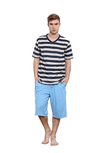 cheap Godsen Men's Sleepwear Short Sleeve Pajama Sets Top&Shorts free shipping