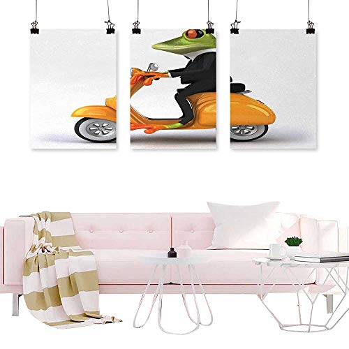 Jouiysce Decorative Picture Animal,Serious Italian Stylish Frog Riding Motorcycle Fun Nature Graphic Urban Art,Green Black Orange Print for Home and Office Wall