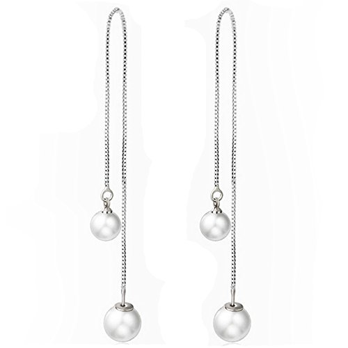1 Pair Long Double Pearl Women Fashion Double Pearl Crystal Drop Long (Pearl & Chain Drop Earrings)