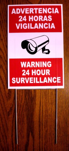 VINBOX WARNING 24 HOUR SURVEILLANCE Sign 8 x 12 Spanish English w/Stake CCTV from VINBOX