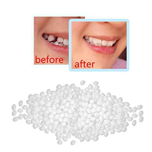 Temporary Tooth Repair Kit Teeth Gaps Filling Glue False Teeth Solid Glue Denture Adhesive Broken Tooth Repair Plastic Pellets for Fake Teeth Missing Tooth 25g (White)