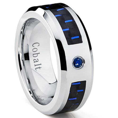 Metal Masters Co. Cobalt Men's Wedding Band Ring W/Black and Blue Carbon Fiber Inlay and 0.05 Carat Blue Sapphire SZ 9.5