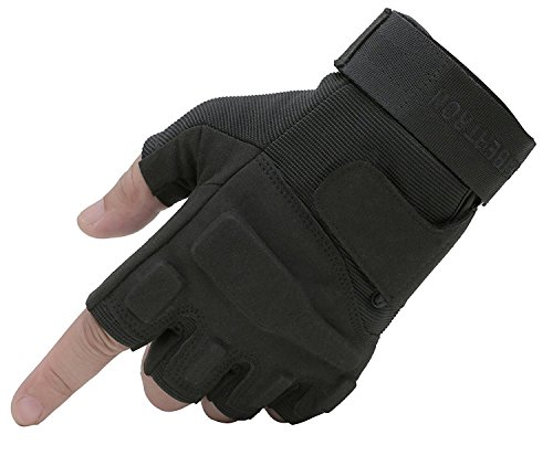 37bfe32c Seibertron Men's Black S.O.L.A.G. Special Ops 1/2 Finger Light Assault Glove  Black XL