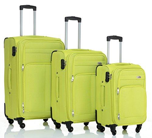 Set di 3 trolley a 4ruote, set da viaggio in plastica, articolo 8005, in 5colori, Blu, verde, Set