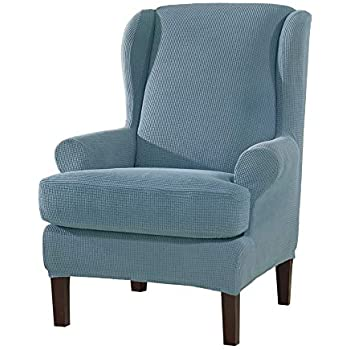 Amazon Com Subrtex 2pcs Wing Chair Slipcovers Stretchy