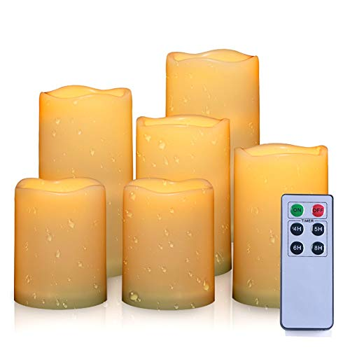 AMAGIC Set of 6 Waterproof Outdoor Flameless Candles with Remote &Timer, Battery Operated Flickering Led Candles, Realistic Fake Candles (Resin Plastic, Water Resistant) by AMAGIC