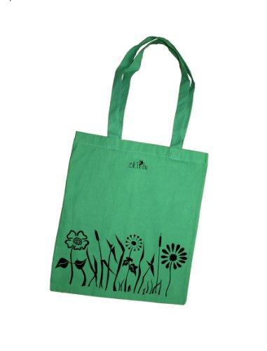 Stoffbeutel / bedruckter Jutebeutel mit Motiv Blumen und Wiese / Jutebeutel / Sportbeutel / Jute Beutel / Einkaufsbeutel aus Baumwolle von 3 Elfen - gelb grün