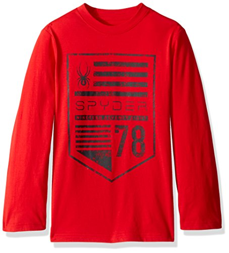 Spyder Boy's Limitless Long Sleeve Shirt, Red/Flag, X-Large