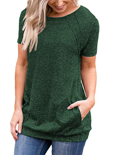 Muhadrs Women's Casual Short Sleeve Round Neck Loose Tunic T Shirt Blouse Tops Green -
