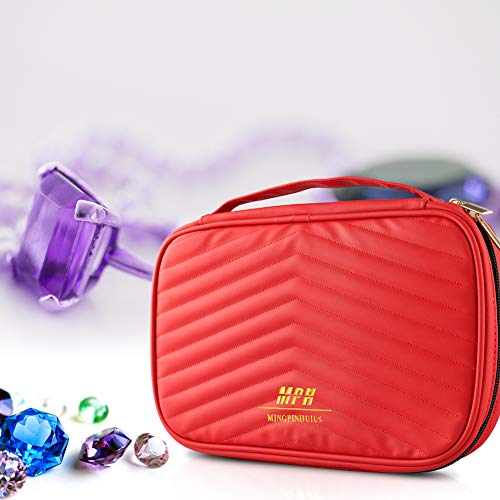 MINGPINHUIUS PU Double Layer Travel Jewelry Organizer Jewelry Storage Carrying Cases for Earrings, Necklaces, Rings (Red)