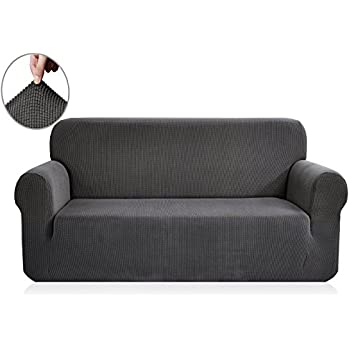 sofa covers. Chunyi Jacquard Sofa Covers 1-Piece Polyester Spandex Fabric Slipcover (Sofa, Gray)