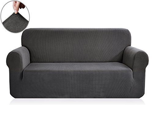 Chunyi Jacquard Sofa Covers 1-Piece Polyester Spandex Fabric Slipcover (Loveseat, Gray) - Leather Sectional Sofa Couch