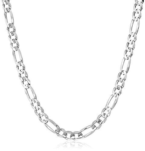 Men's 10k White Gold 6.5mm Solid Figaro Chain, 22
