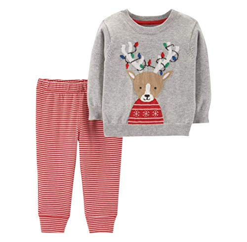 Infant Reindeer - Carter's Baby 2-Piece Reindeer Sweater & Striped Pant Set (3 Months)