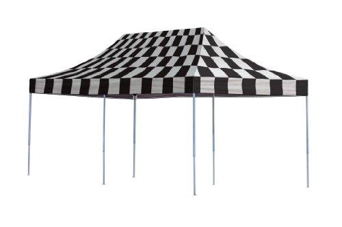 ShelterLogic 10x20 Straight Leg Pop-up Canopy, Checkered Flag Cover, Black Roller Bag by ShelterLogic