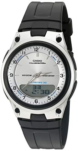Casio Men's AW80-7AV World Time Databank 10-Year Battery Black Band Watch