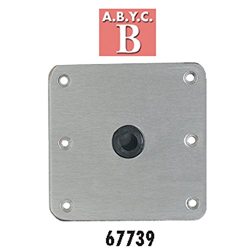 "attwood 67739 Lock'N-Pin 3/4"" Pin Base - Stainless Steel with Nylon Bushing, Non-Threaded - 7"" x 7"""