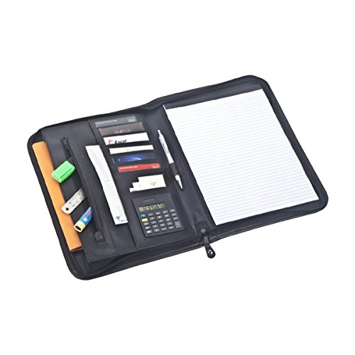 Promotional Pocket Calendars - wave Business Portfolio (Black) travel Zippered Organizer Binder - Executive Portfolio Organizer - Tablet Sleeve – BONUS: A4 Notepad, Calculator, Pen & Metal Ruler