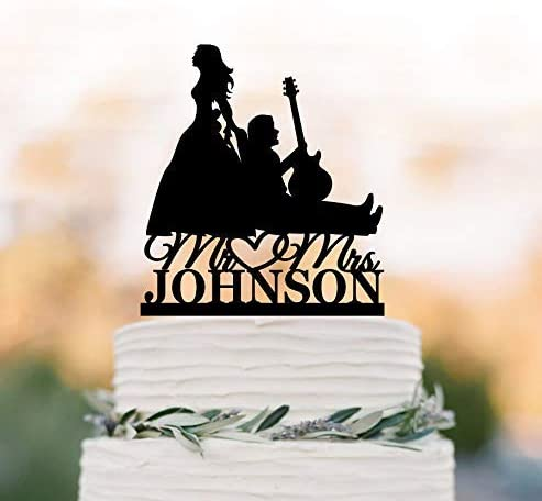 Decoración para tarta de boda, diseño de guitarra, con silueta de ...