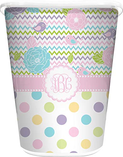 RNK Shops Girly Girl Waste Basket - Single Sided (White) (Personalized)