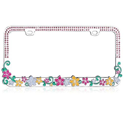 Valor Auto Companion LPF2MC016PNK Vibrant Hawaiian Flower Design Metal License Plate Frame with Pink Crystals (Plates License Flower)