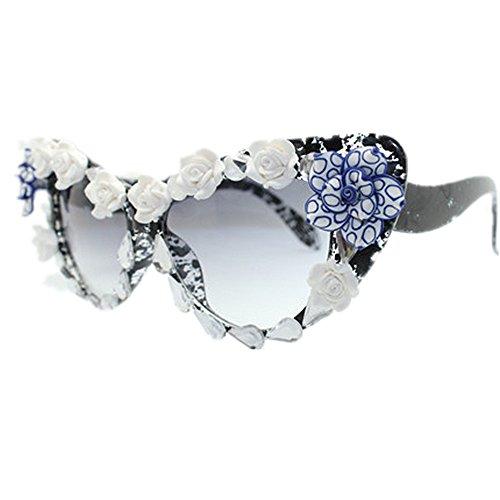 polarizada Playa señora la Gafas Vendimia Cat UV a Eyes Flor Sol de de de Moda la la Hecha Gafas Tonos de de Crystal para de Verano Proteccion la Mano Vacaciones de de Protección de Sol la conducción PEaqfxwx8