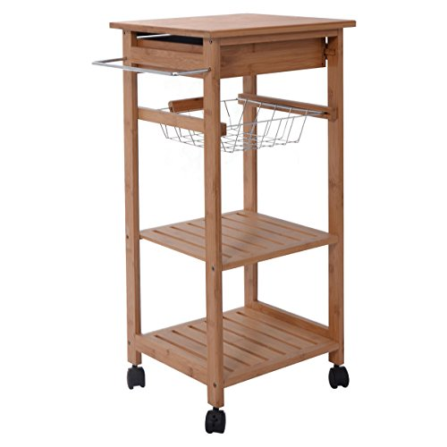 Giantex Mobility Bamboo Kitchen Trolley Cart Shelf Island Servce countertop W/Baskets