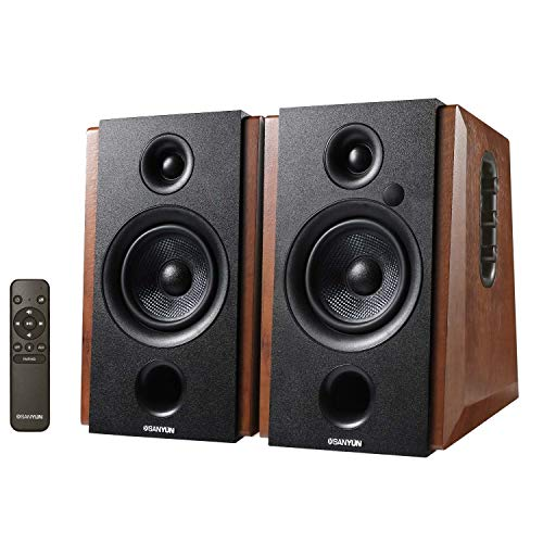 Sanyun SW228BT Powered Bluetooth Bookshelf Speakers – 4 Inch Active Carbon Fiber Speaker- Wireless Studio Monitors – Optical RCA 3.5mm Audio Inputs – 46W RMS – Wooden Enclosure