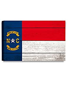 """DecorArts - North Carolina State Flag. Giclee Print on 100% Archival Cotton Canvas, Canvas wall art for Wall Decor 30x20""""x1.5"""""""