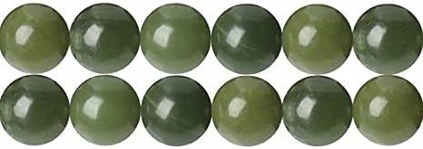 DIY Collar Pulsera pendientes perlas de bisutería una sola cadena Gemstone y cristal redonda sueltas cuentas en bulk Supplies, Green Jade, 12 mm