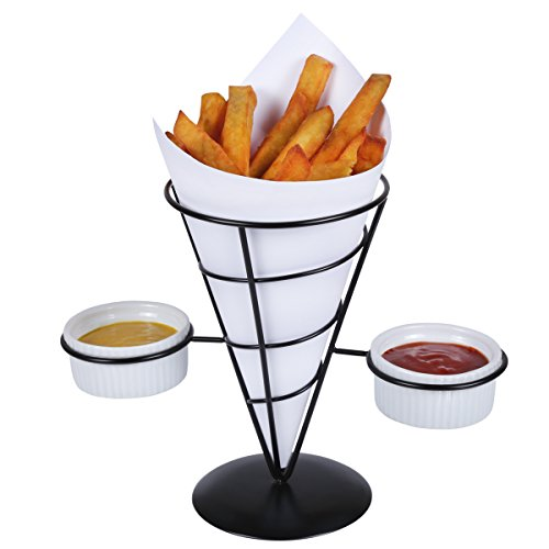 Creative Home Iron Works French Fry Holder Set with Black Powder Coating, Single Cone Holder with 2 Ceramic Ramekins, Black