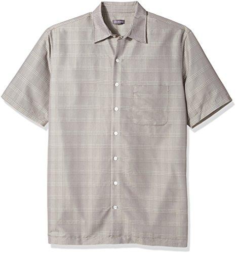 Van Heusen Men's Tall Poly Rayon Short Sleeve Button Down Shirt, Grey Nickel Grey, 4X-Large Big by Van Heusen