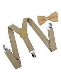 Brooben Child Kids Suspenders Bowtie Set - Adjustable Length Suspender with Bow Tie Set for Boys and Girls SPBT1-Beige