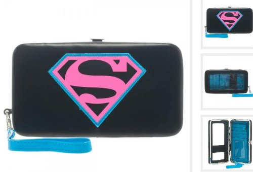 Superman Supergirl Neon Logo Universal Phone Hinge Wallet- Fit Most iPhone and Smart Phone