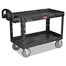Rubbermaid Commercial Heavy-Duty 2- Shelf Utility Cart, Ergo Handle, Lipped Shelves, Large, Black (FG454600BLA)