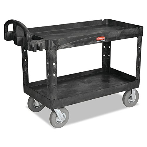 Rubbermaid Commercial Heavy-Duty 2- Shelf Utility Cart, Ergo Handle, Lipped Shelves, Large, Black - Rubbermaid Cart Shelf 2 Service
