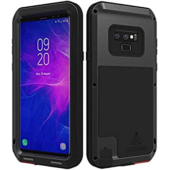 LOVE MEI Powerful Series for Samsung Galaxy Note 9 Case Shockproof Military Grade, [Without Screen Protector] Hybrid Metal and Silicone Sturdy Heavy Duty Defender Case for Samsung Note 9 (Black)