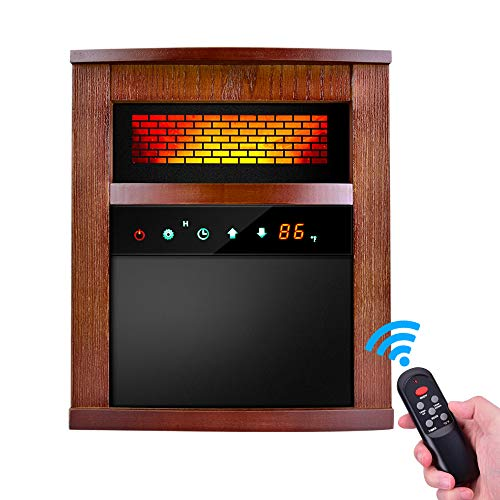 Electric Infrared Heater - 1500W Portable Space Heater with Remote &Timer, Function 3 Modes Infrared Heater with Intelligent Programmable Thermostat, Overheat & Tip-over Shutoff Wood Cabinet Heater