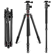 """Neewer Carbon Fiber 66""""/168cm Lightweight Portable Camera Tripod Monopod with 360 Degree Ball Head and Bubble Level, Load Capacity 26.5lbs/12kg"""