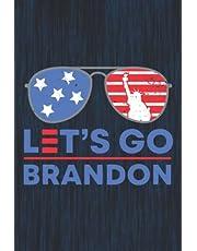 Let's Go Brandon Chant Notebook: 6 x 9 Us Flag Sunglasses Lined Journal Notepad Funny Biden Meme Gag Gift