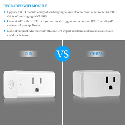 Smart Outlet, ONEVER WiFi Enabled Mini Remote Control Timer Switch Compatible with Google Home & Amazon Echo Alexa US Plug (Pack of 4X) by ONEVER (Image #1)
