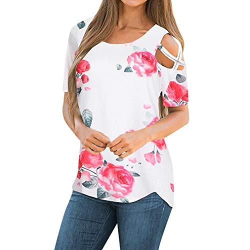 CUCUHAM Women Printed Crop Top Short Sleeve Tank Top T-Shirt Blouse(Z1-White,S)