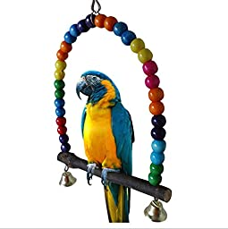 Colorful Swing Bird Toy Parrot Cage Parakeet Cockatiel Finch Lovebird Budgie Station Rack